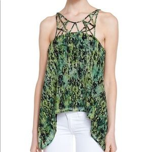 NWOT BCBG Baker Green Silk Top Lattice Neckline